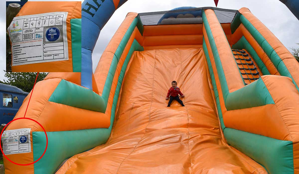 My son having a whale of a time on inflatable slide