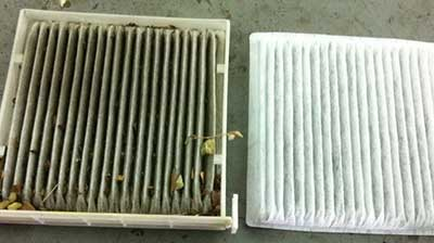 Before and after air filter clean
