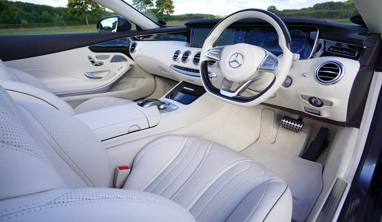 spotless leather interior of a car