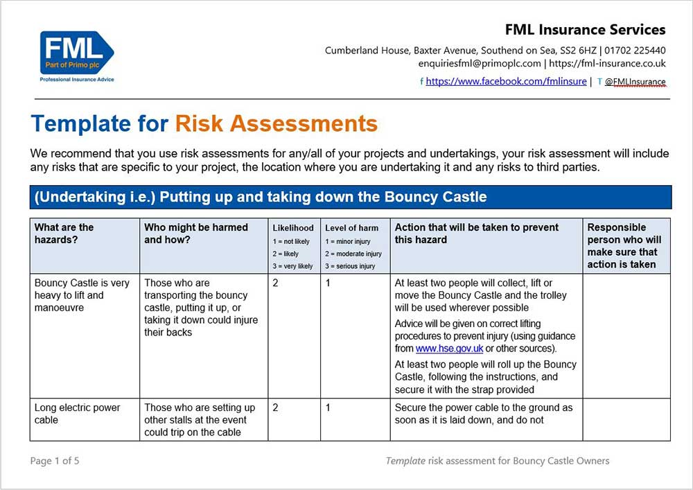 insurance risk template  Bouncy Castle Insurance 10 Top Tips (Plus Free Risk Template)