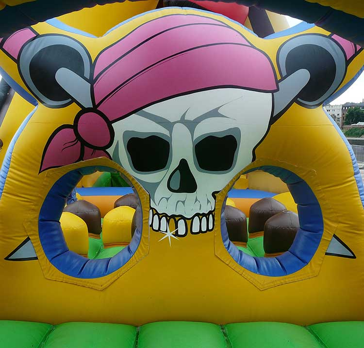 Skull and crossbones decoration on inflatable equipment