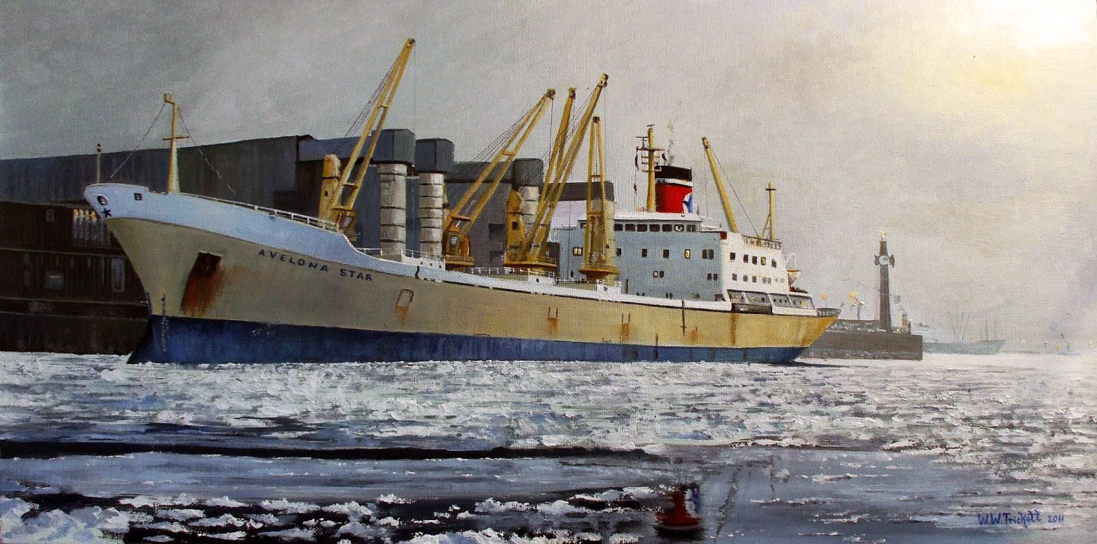 Blue Star Line Ship in German Harbour