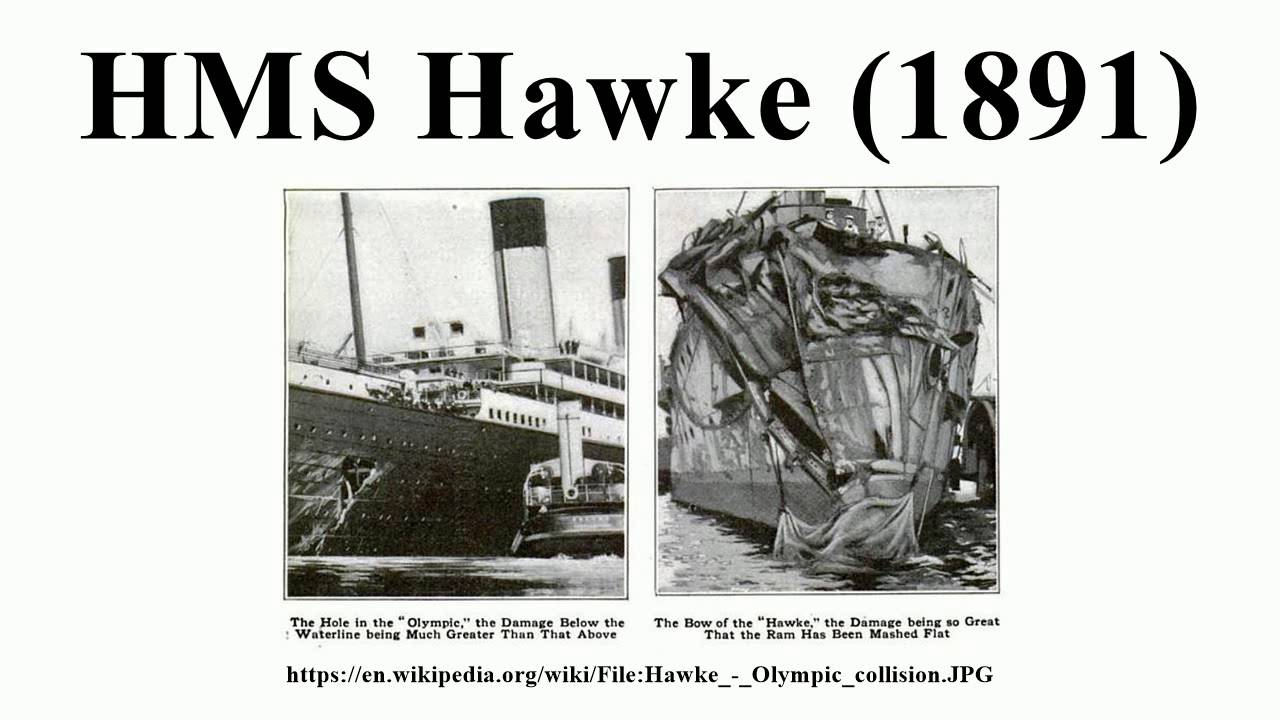 Collision in the Solent showing damage to the RMS Olympic and HMS Hawke